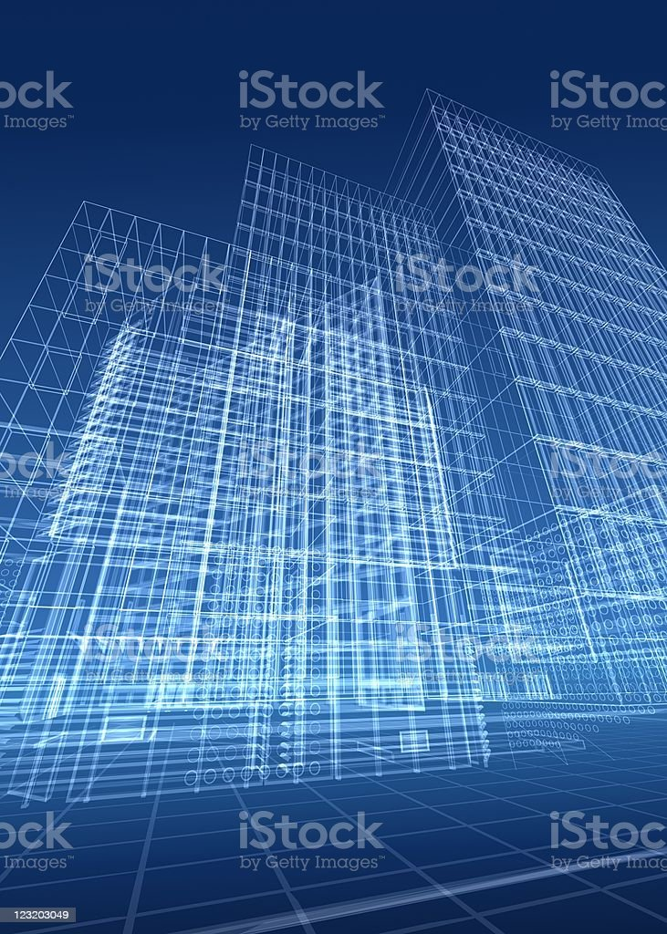 3d architectural drawing royalty-free stock photo