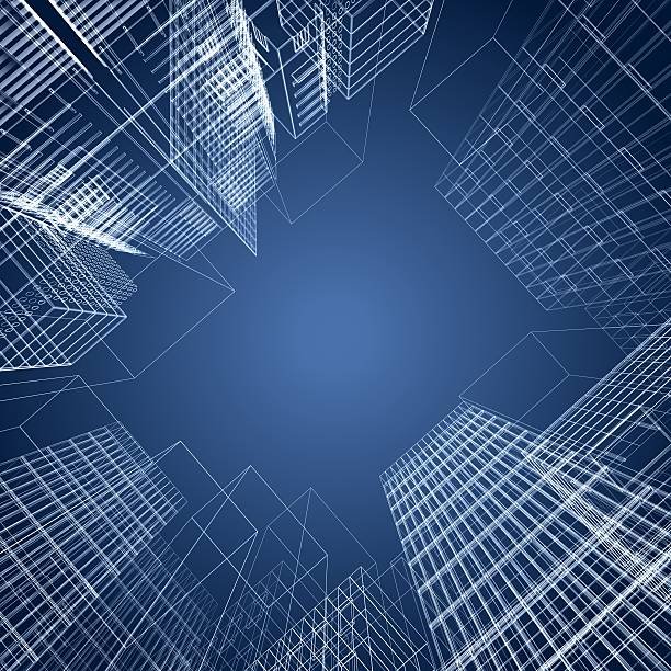 3d architectural square of wireframe buildings stock photo