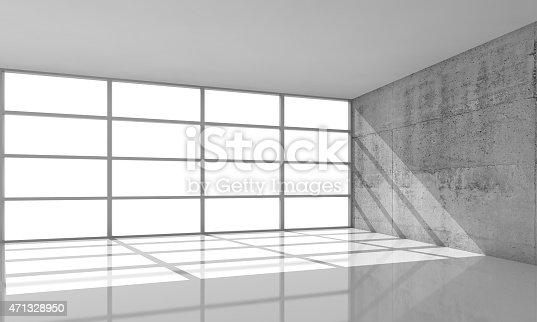 istock 3d architecture background, empty interior with sunlight 471328950