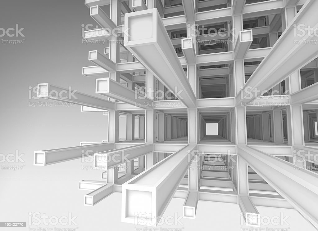 3d architecture monochrome background. Abstract modern white braced construction royalty-free stock photo