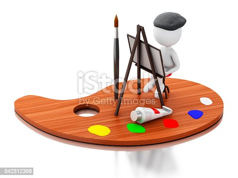 1021586250istockphoto 3d Artist painting on color palette. 542312358