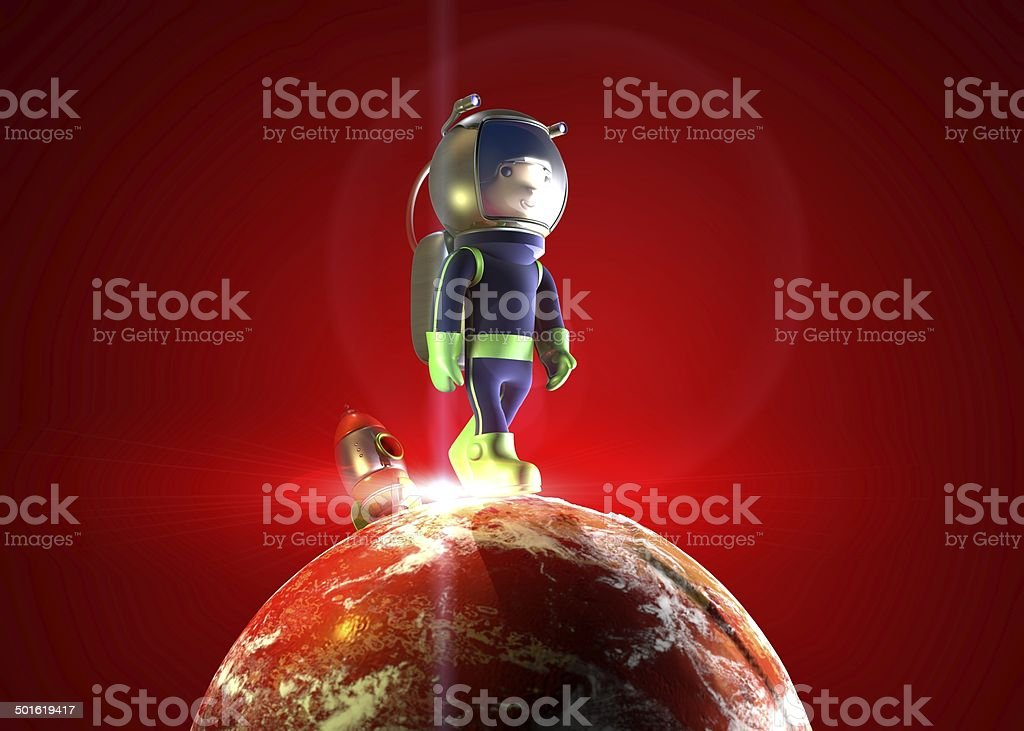 3d astronaut on red planet stock photo