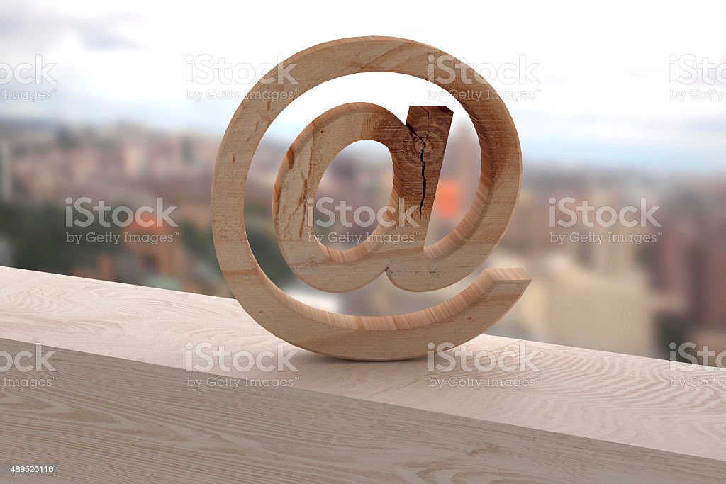 3d at on a wooden surface stock photo