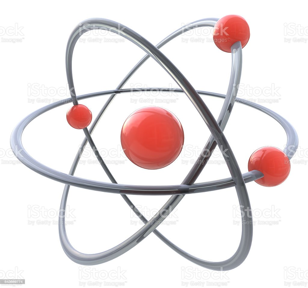 3d atom symbol stock photo