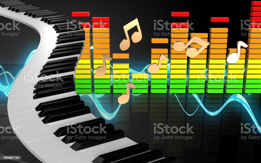 3d audio spectrum piano keys stock photo