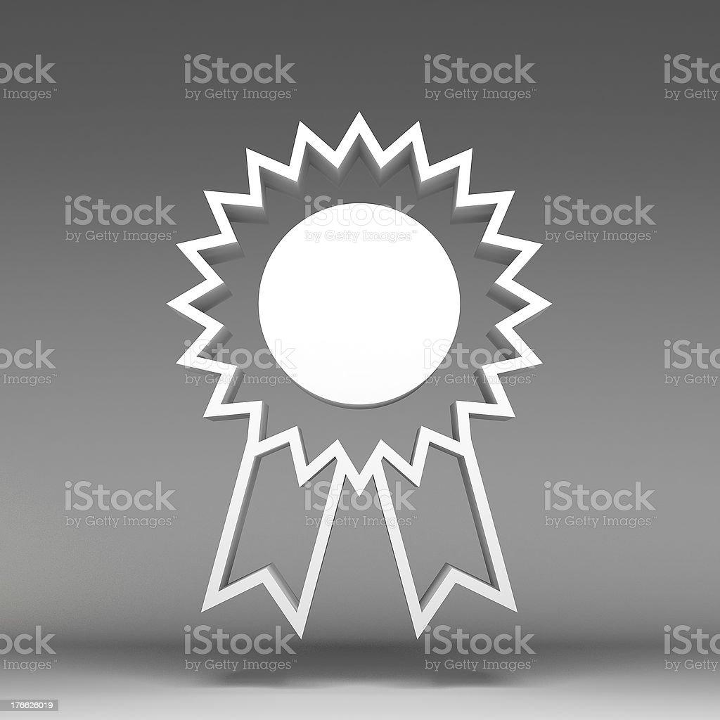3d award ribbon rosette icon royalty-free stock photo