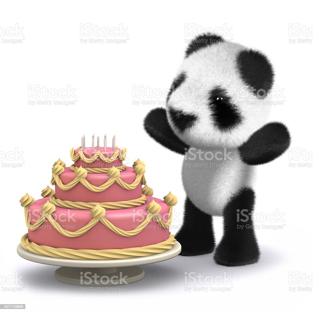 Pleasant 3D Baby Panda Bear Has A Lovely Birthday Cake Stock Photo Funny Birthday Cards Online Inifofree Goldxyz