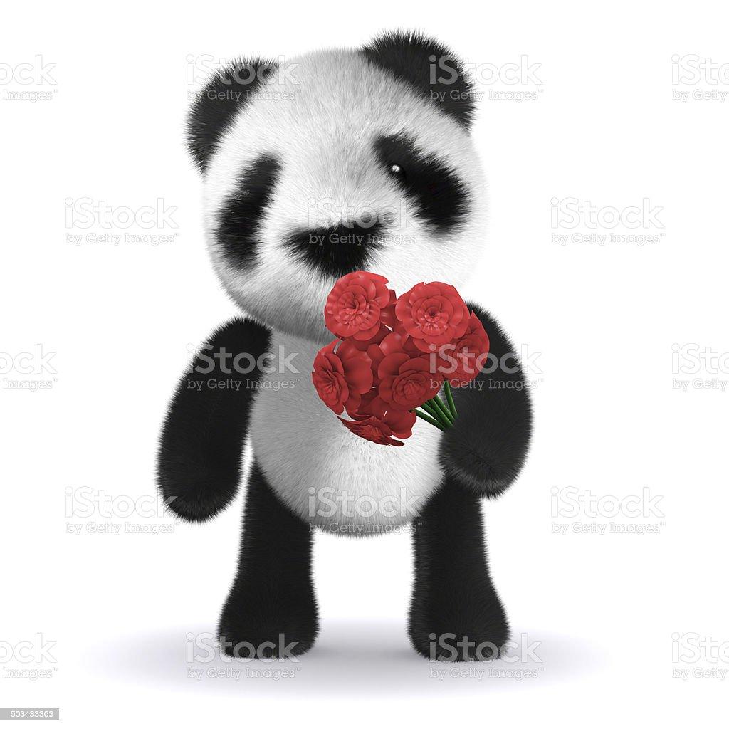 3d Baby panda bear has a red rose stock photo
