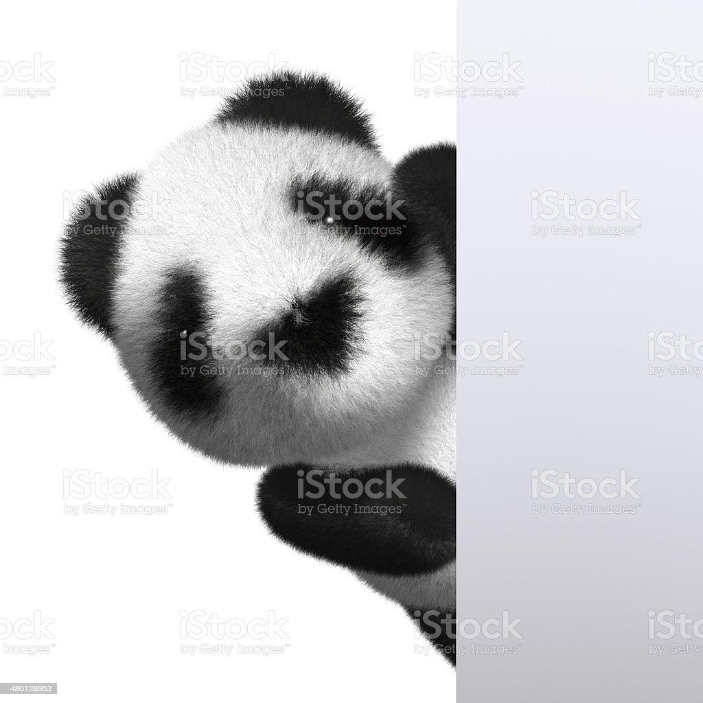 3d Baby Panda peeps out stock photo