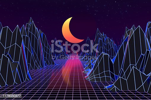 1060869186istockphoto 3d background Illustration Inspired by 80's Scene synthwave and retrowave. 1175030377