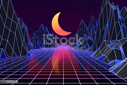 1060869186istockphoto 3d background Illustration Inspired by 80's Scene synthwave and retrowave. 1175030413