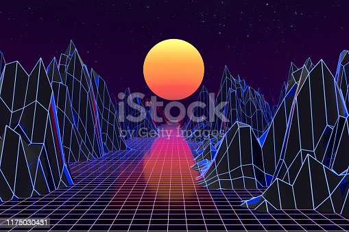 1060869186 istock photo 3d background Illustration Inspired by 80's Scene synthwave and retrowave. 1175030431