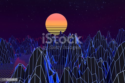 1060869186 istock photo 3d background Illustration Inspired by 80's Scene synthwave and retrowave. 1175030520