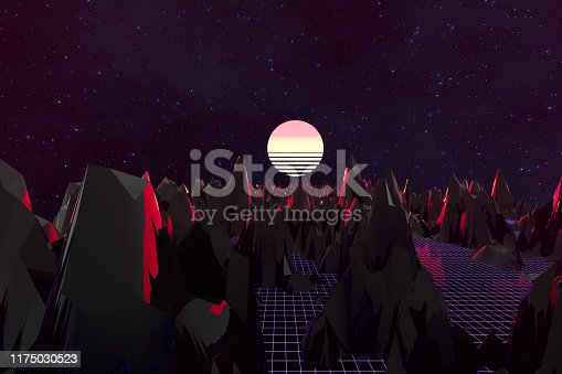 1060869186 istock photo 3d background Illustration Inspired by 80's Scene synthwave and retrowave. 1175030523