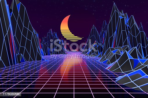 1060869186 istock photo 3d background Illustration Inspired by 80's Scene synthwave and retrowave. 1175030582