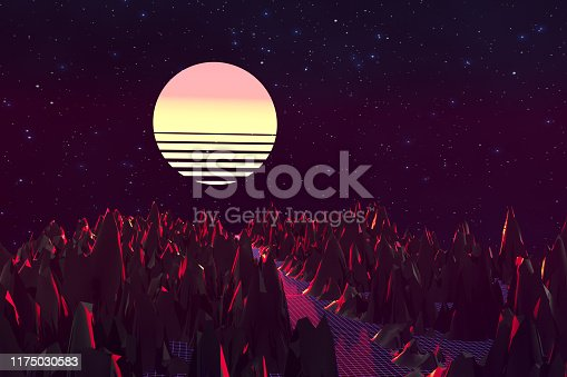 1060869186istockphoto 3d background Illustration Inspired by 80's Scene synthwave and retrowave. 1175030583