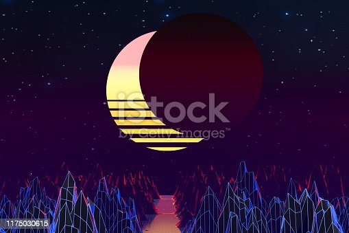 1060869186istockphoto 3d background Illustration Inspired by 80's Scene synthwave and retrowave. 1175030615