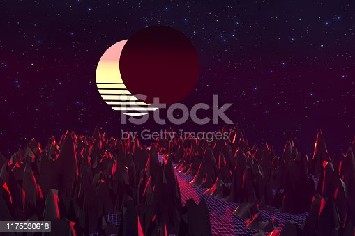 1060869186istockphoto 3d background Illustration Inspired by 80's Scene synthwave and retrowave. 1175030618