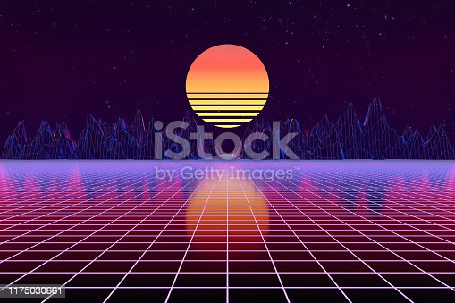 1060869186istockphoto 3d background Illustration Inspired by 80's Scene synthwave and retrowave. 1175030661