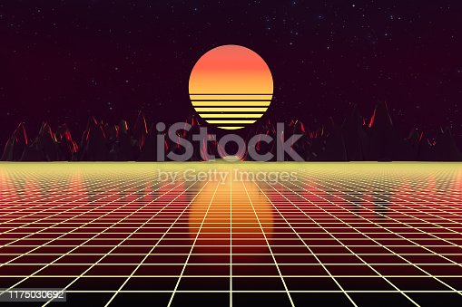 1060869186istockphoto 3d background Illustration Inspired by 80's Scene synthwave and retrowave. 1175030692