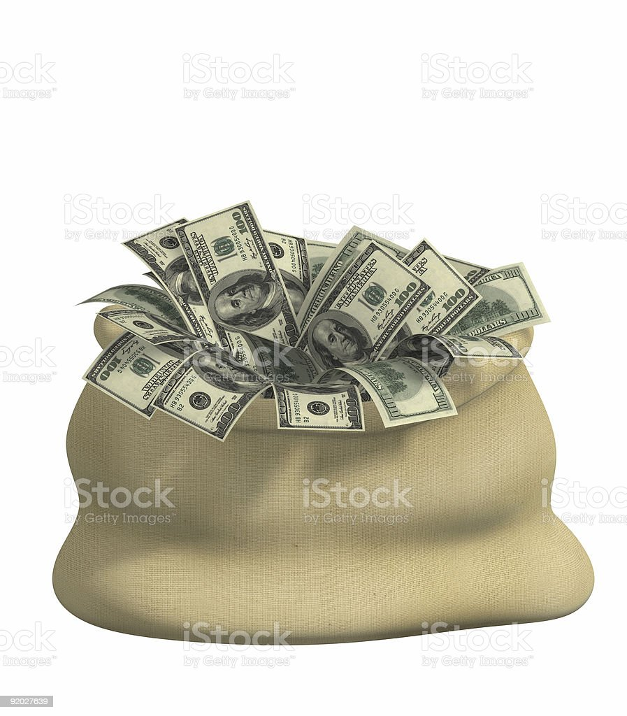 3d bag, filled dollars royalty-free stock photo