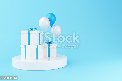 istock 3d Balloons and gift boxes on blue background. 1048834782