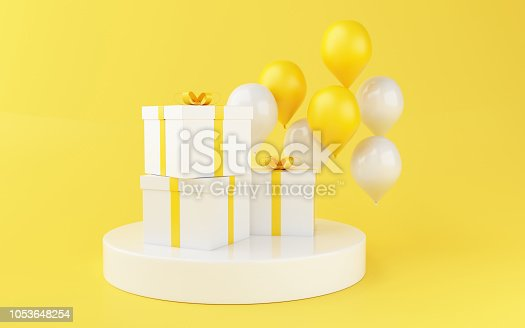 istock 3d Balloons and gift boxes on blue background. 1053648254