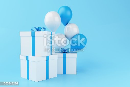 istock 3d Balloons and gift boxes on blue background. 1053648266
