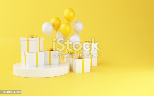 istock 3d Balloons and gift boxes on yellow background. 1048834768