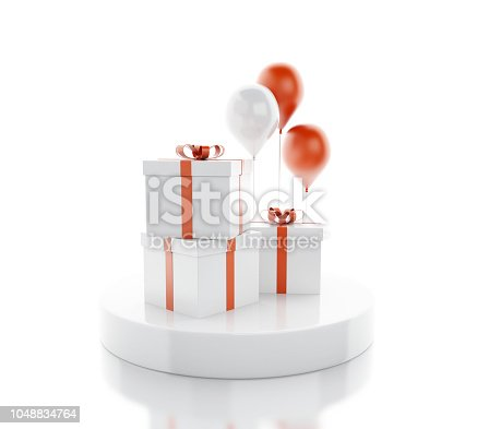 istock 3d Balloons and gift boxes 1048834764