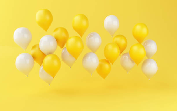 3d Balloons birthday party decoration stock photo