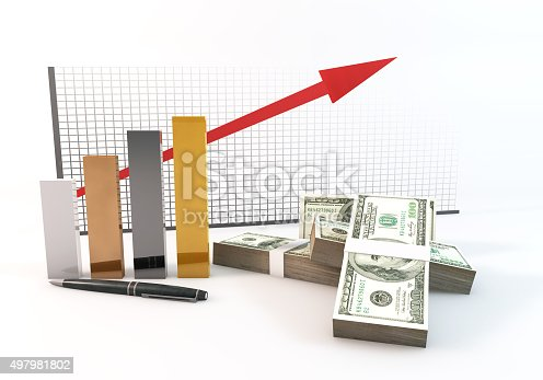 93070459 istock photo 3d Bar graph arrow up investment with money 100 dollar 497981802