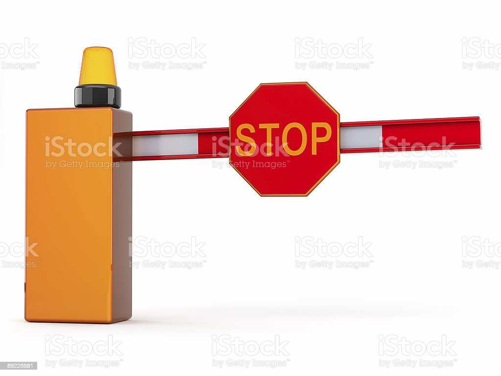 3d barrier with sign stop royalty-free stock photo