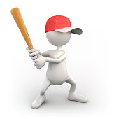 3d baseball player, isolated / clipping path