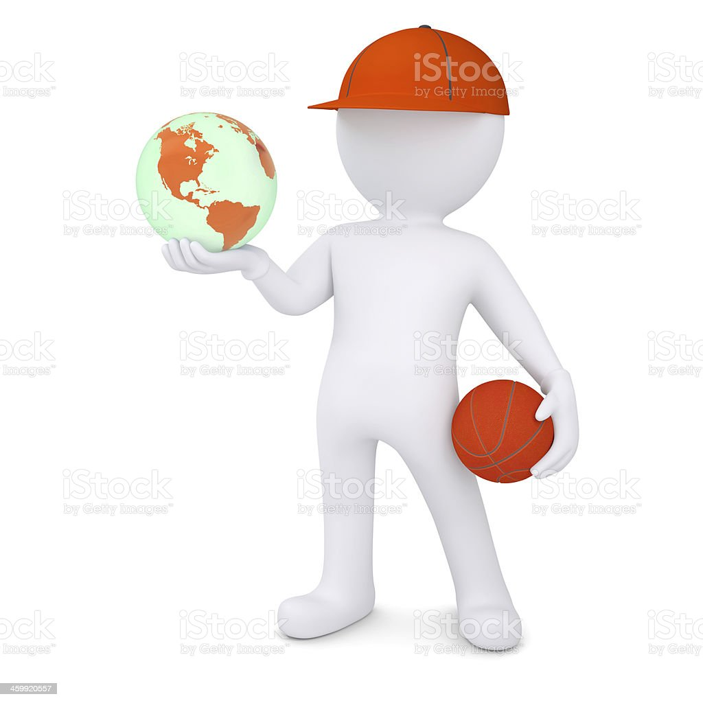 3d basketball player with the earph stock photo