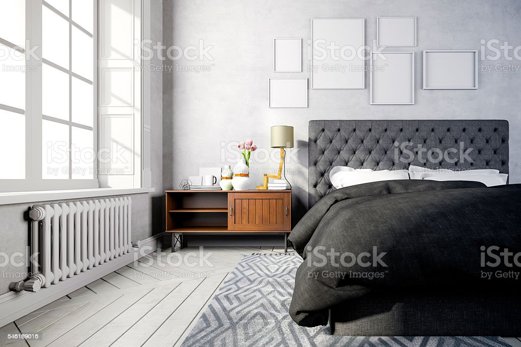 3d beautiful bedroom interior render stock photo
