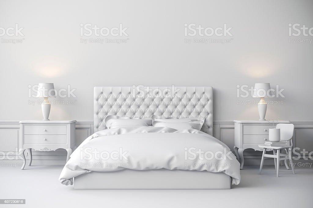 3d beautiful bedroom interior render stock photo