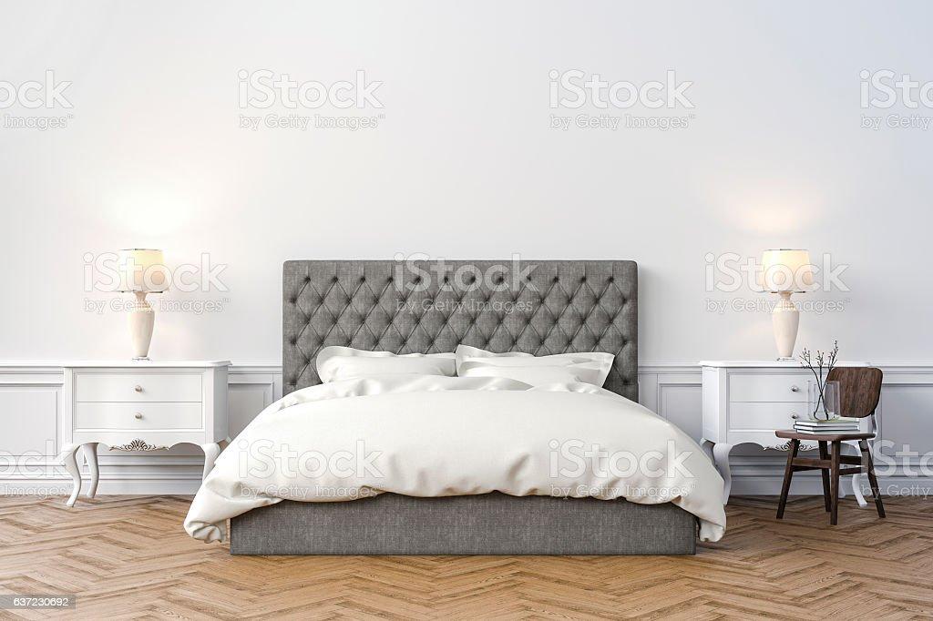3d beautiful bedroom interior render royalty-free stock photo