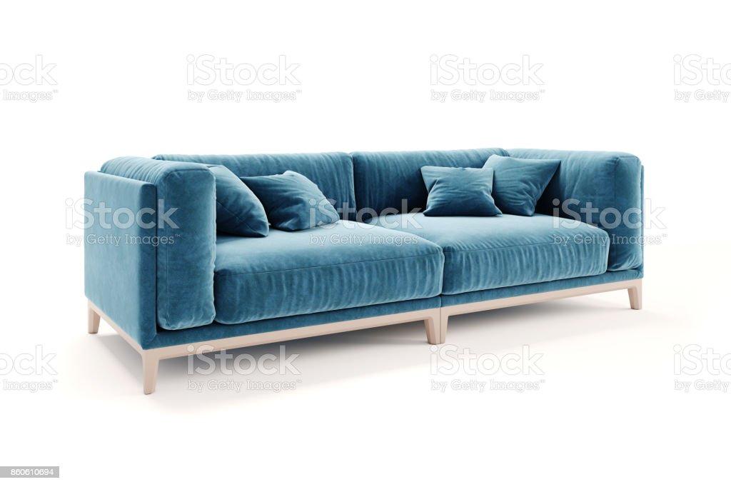 Remarkable 3D Beautiful Blue Velvet Sofa On White Background Stock Evergreenethics Interior Chair Design Evergreenethicsorg