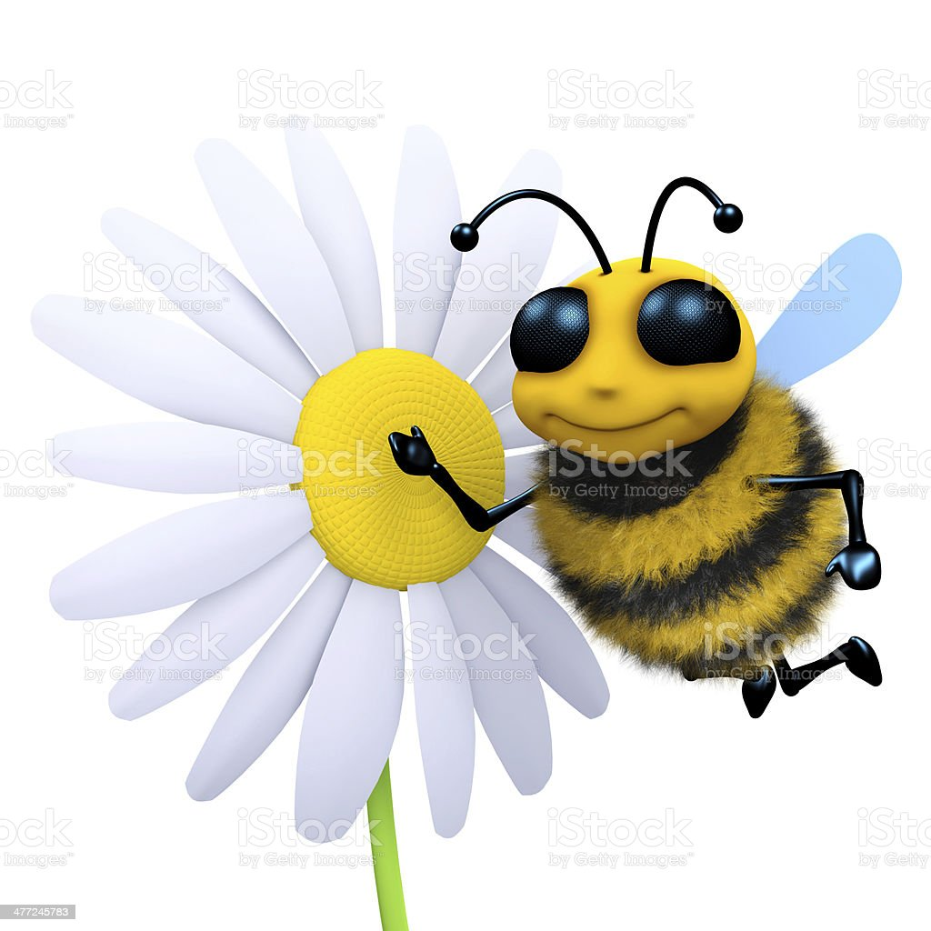 3d Bee and flower stock photo