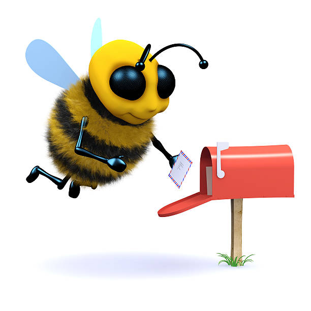 3d Bee gets mail stock photo