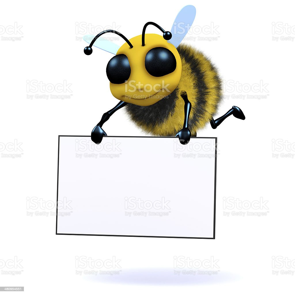 3d Bee holds a banner stock photo