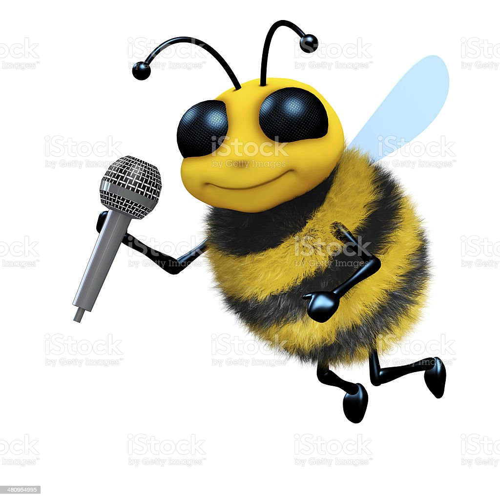 3d Bee sings stock photo