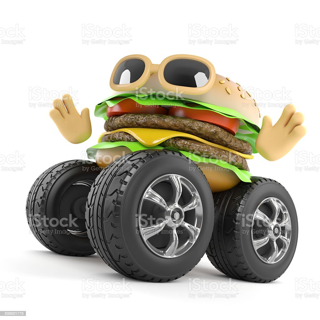 3d Beefburger with giant wheels stock photo