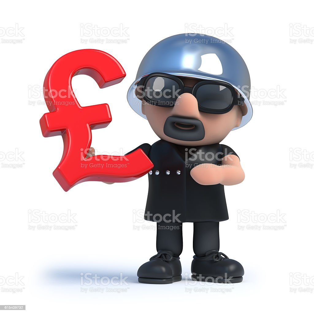 3d Biker Holding A Uk Pounds Sterling Currency Symbol Stock Photo