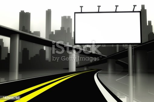 istock 3d Billboard and road with city background 183958765