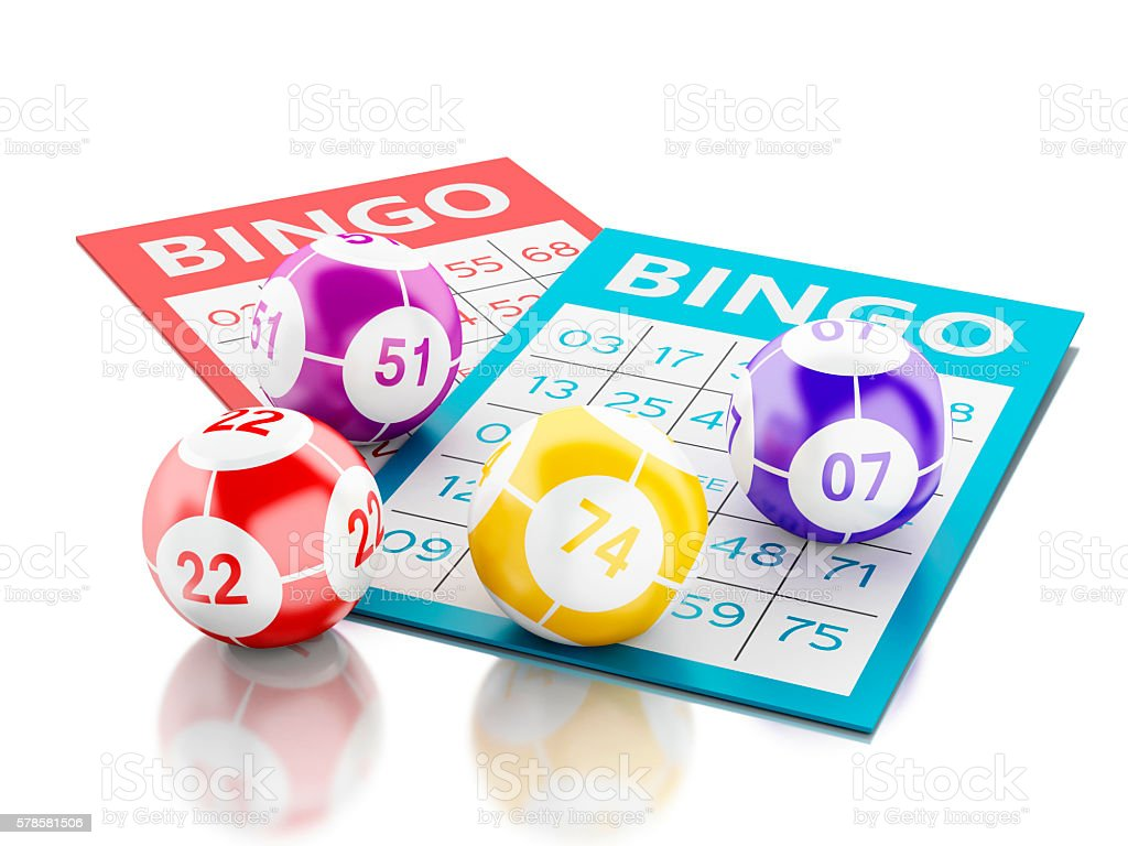 3d Bingo cards with colorful bingo balls. – zdjęcie