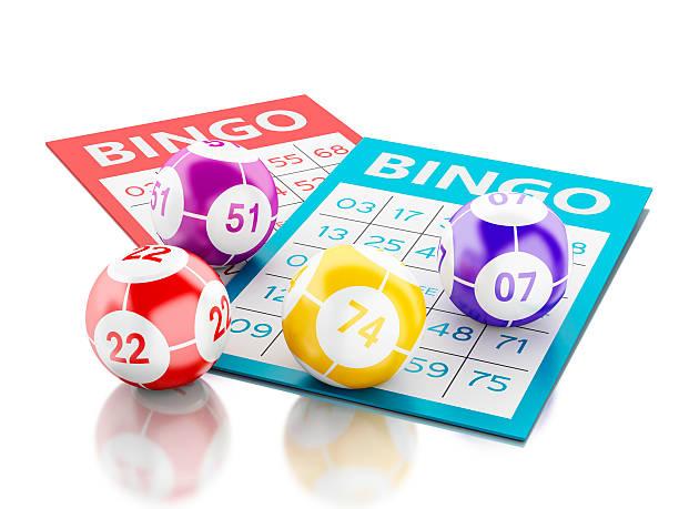3d Bingo cards with colorful bingo balls.圖像檔