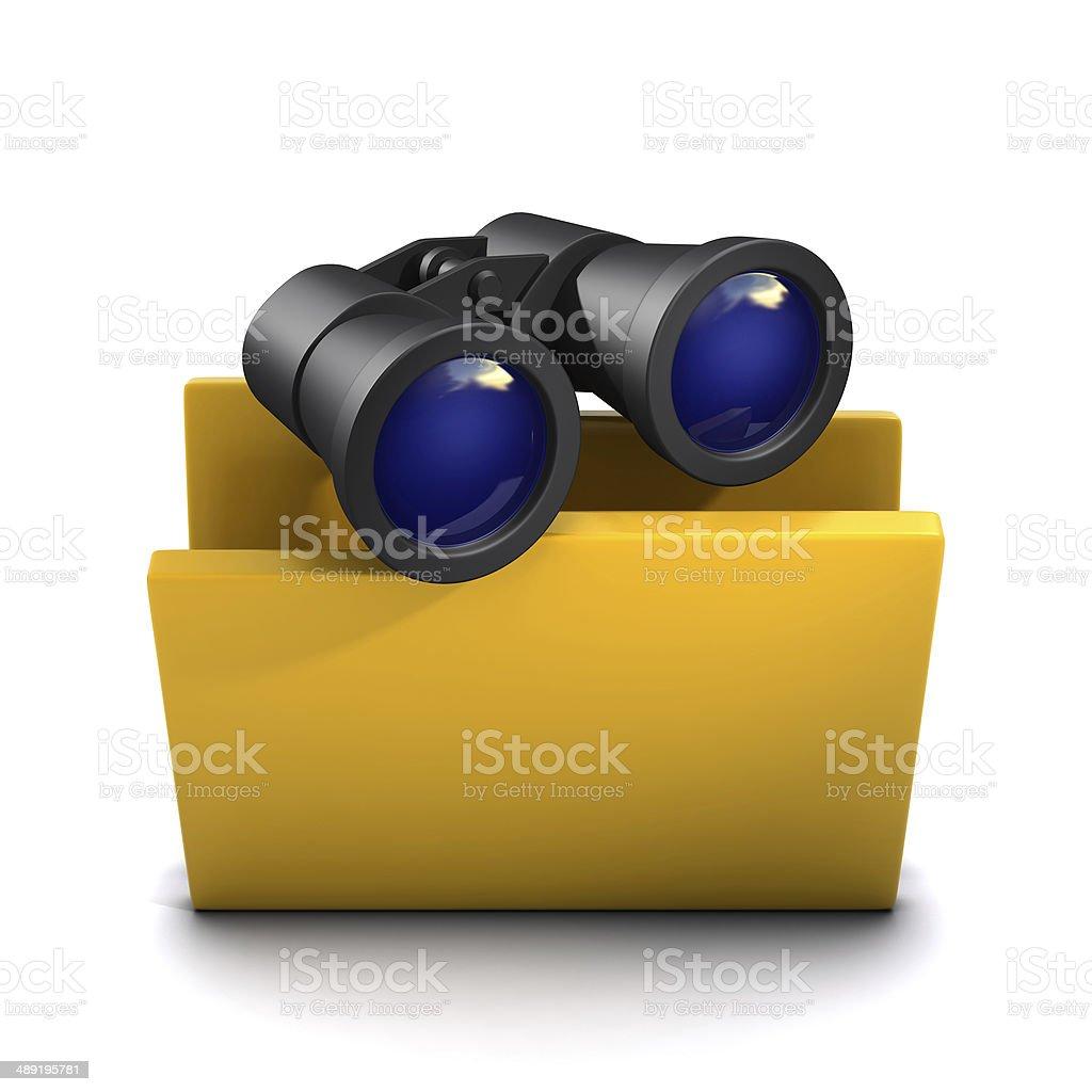 3d Binoculars folder icon stock photo