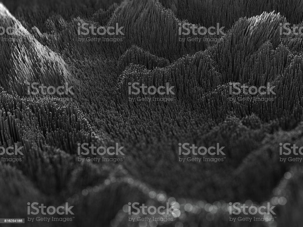 3d black abstract background, wavy artificial landscape stock photo